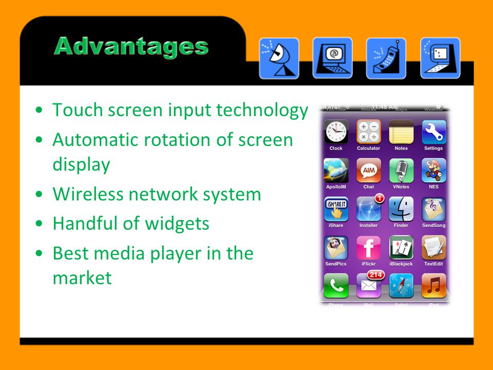 Touch screen input technology Automatic rotation of screen display Wireless network system Handful of widgets Best media player in the market