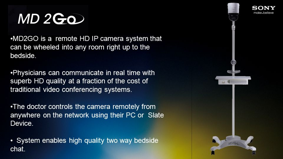 MD2GO is a remote HD IP camera system that can be wheeled into any room right up to the bedside.