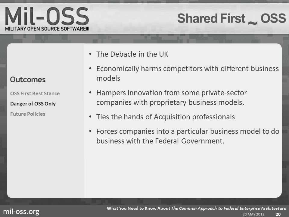 mil-oss.org The Debacle in the UK Economically harms competitors with different business models Hampers innovation from some private-sector companies with proprietary business models.