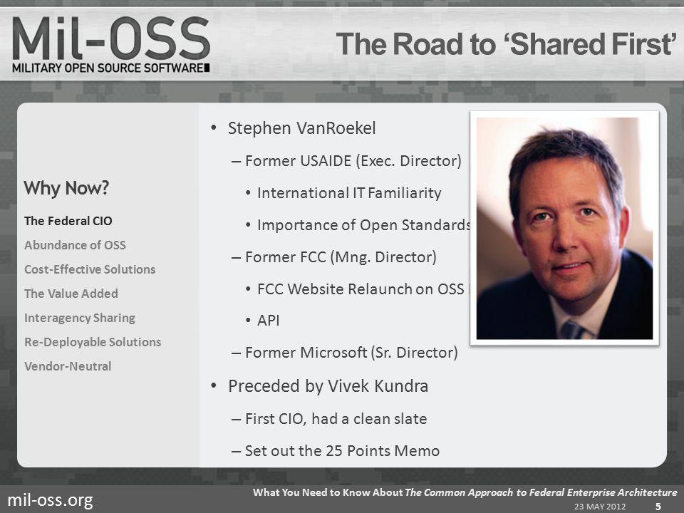 mil-oss.org Stephen VanRoekel – Former USAIDE (Exec.