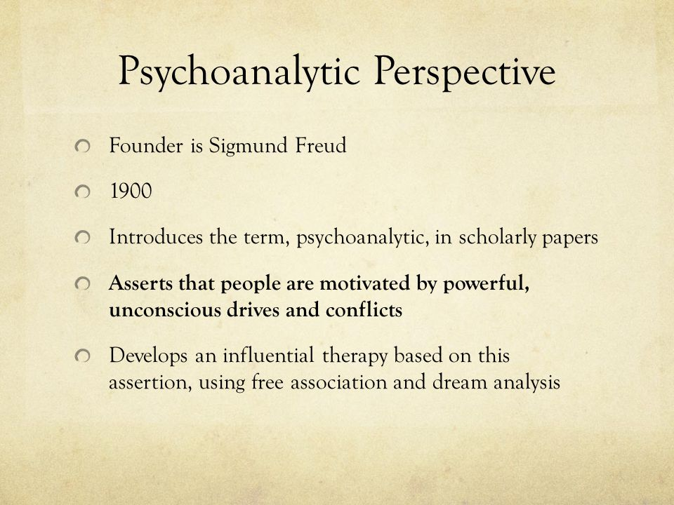 Psychoanalytic Perspective Founder is Sigmund Freud 1900 Introduces the term, psychoanalytic, in scholarly papers Asserts that people are motivated by powerful, unconscious drives and conflicts Develops an influential therapy based on this assertion, using free association and dream analysis