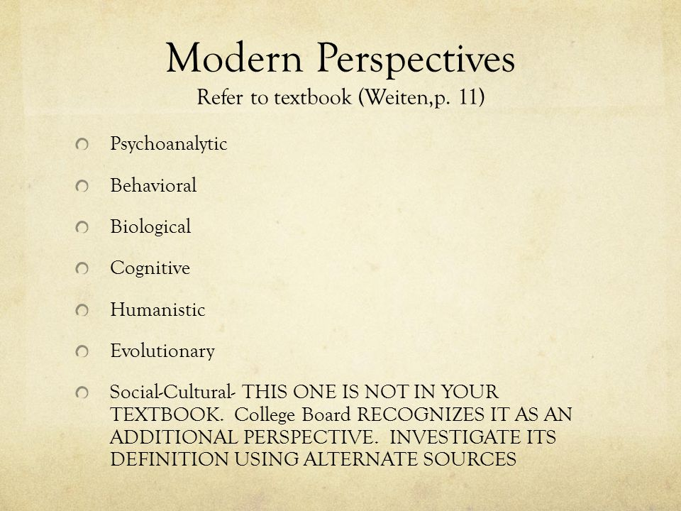 Modern Perspectives Refer to textbook (Weiten,p.