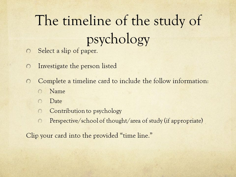The timeline of the study of psychology Select a slip of paper.