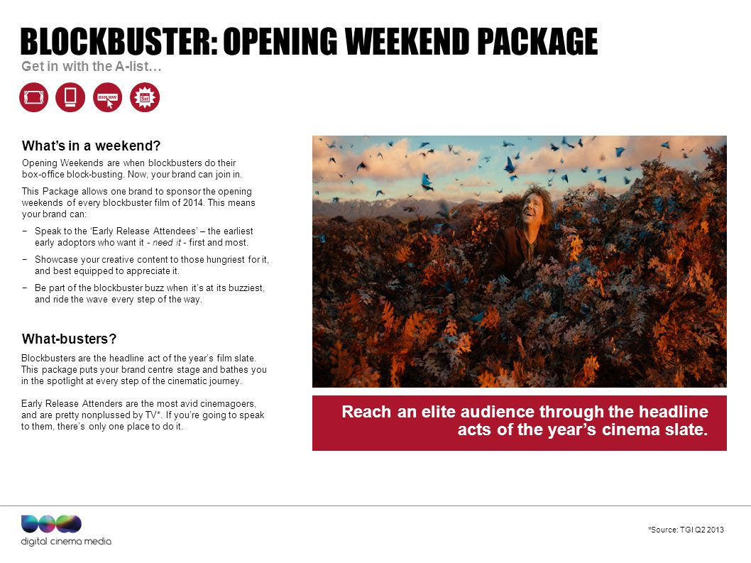Quote to define campaign goes here – can run to two lines. BLOCKBUSTER: OPENING WEEKEND PACKAGE Get in with the A-list… Opening Weekends are when bloc