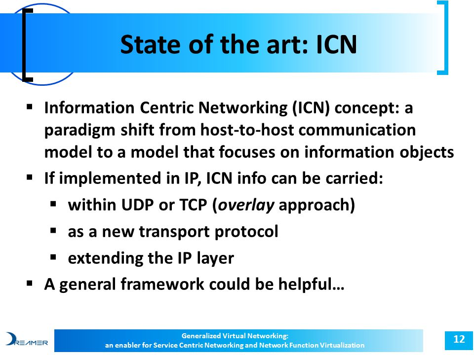 State of the art: ICN 12  Information Centric Networking (ICN) concept: a paradigm shift from host-to-host communication model to a model that focuses on information objects  If implemented in IP, ICN info can be carried:  within UDP or TCP (overlay approach)  as a new transport protocol  extending the IP layer  A general framework could be helpful… Generalized Virtual Networking: an enabler for Service Centric Networking and Network Function Virtualization