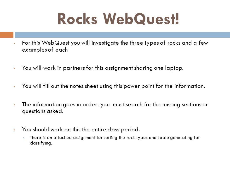 Rocks WebQuest.