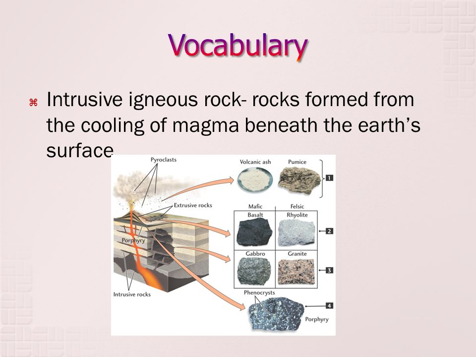  Intrusive igneous rock- rocks formed from the cooling of magma beneath the earth's surface