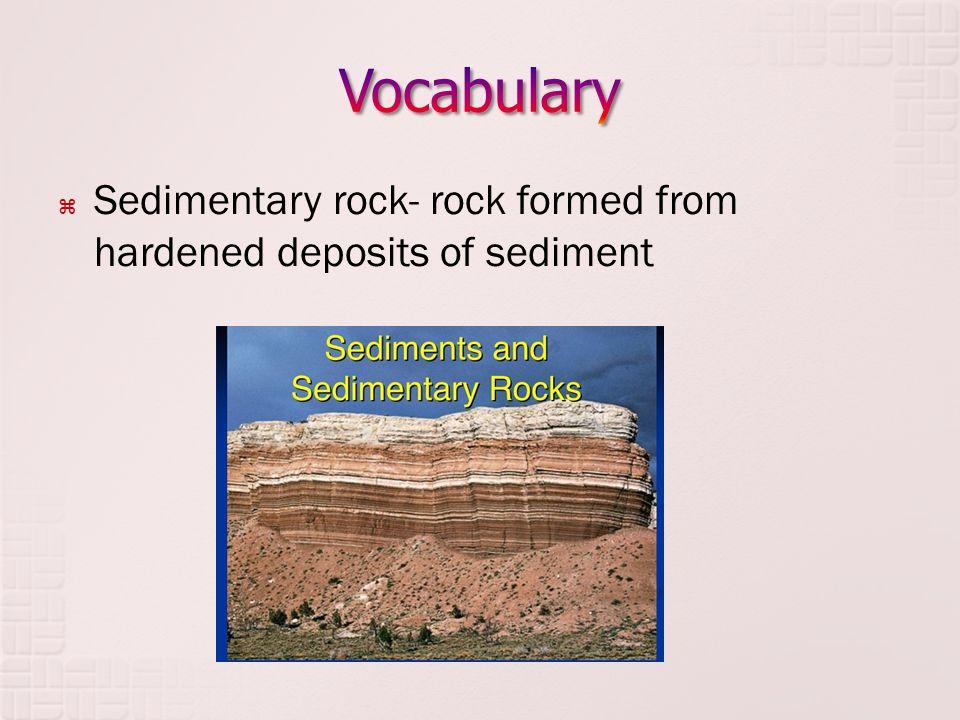  Sedimentary rock- rock formed from hardened deposits of sediment