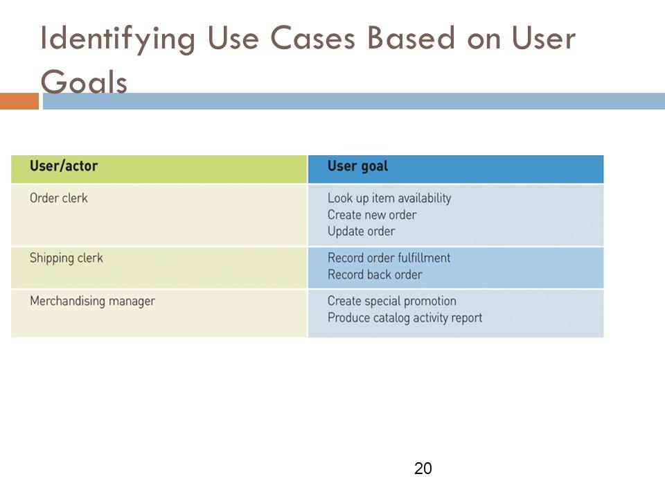 Identifying Use Cases Based on User Goals 20