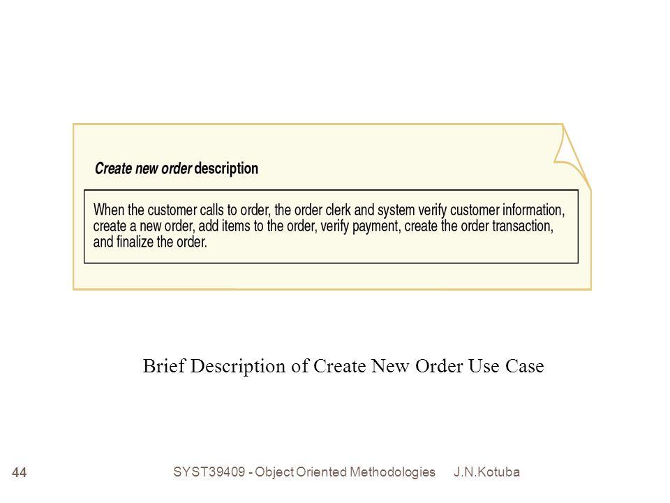 J.N.Kotuba SYST39409 - Object Oriented Methodologies 45 Intermediate Description of Telephone Order Scenario for Create New Order Use Case