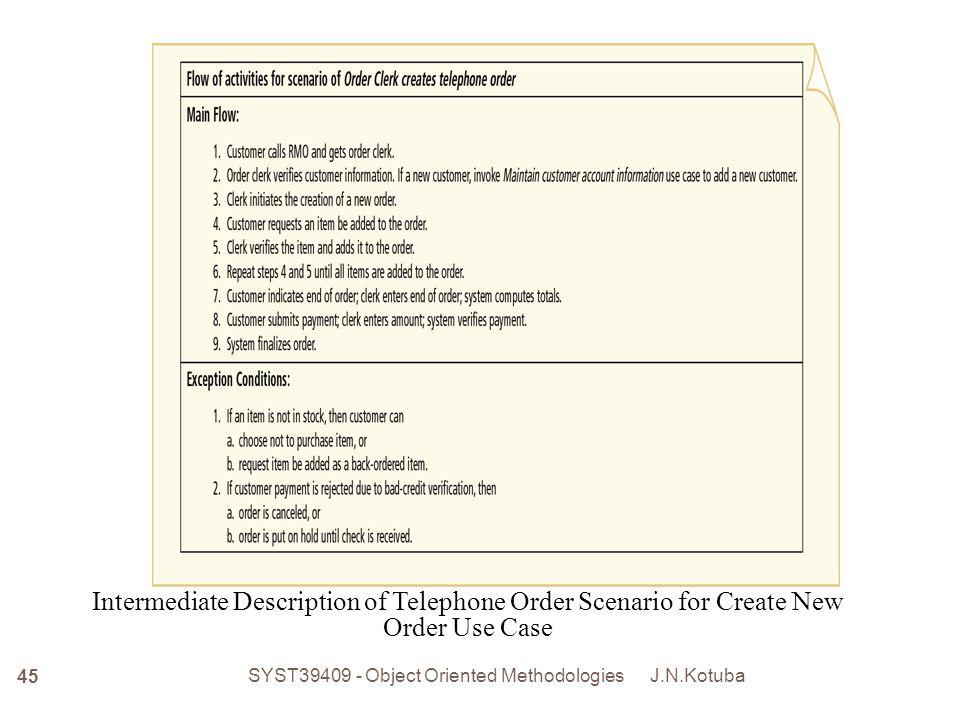J.N.Kotuba SYST39409 - Object Oriented Methodologies 46 Fully Developed Description of Telephone Order Scenario for Create New Order Use Case