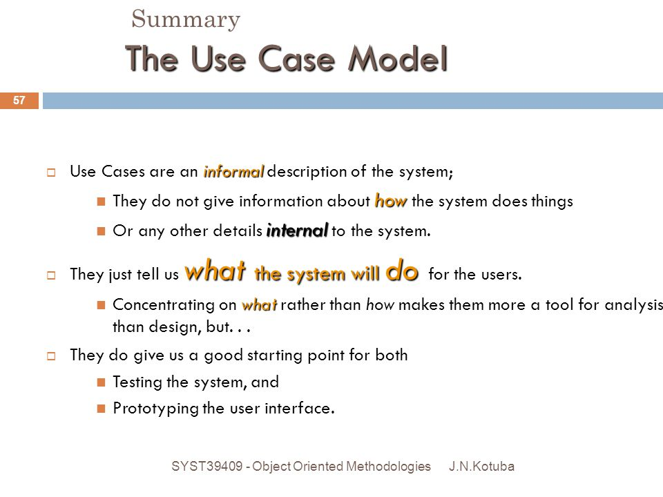 The Use Case Model.Summary Developing the Requirements Model: The Use Case Model J.N.Kotuba SYST39409 - Object Oriented Methodologies 57 informal  Us