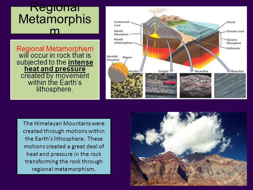 Regional Metamorphis m The Himalayan Mountains were created through motions within the Earth's lithosphere.