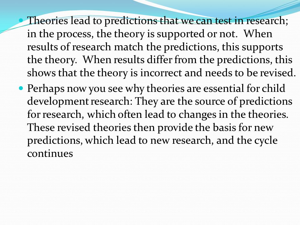 Theories lead to predictions that we can test in research; in the process, the theory is supported or not.