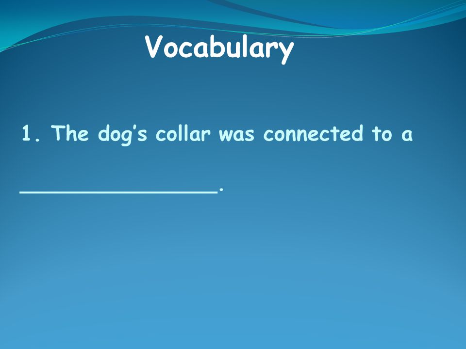 1. The dog's collar was connected to a _______________. Vocabulary