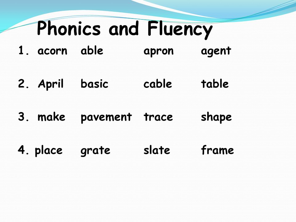 Phonics and Fluency 1.acornableapronagent 2.Aprilbasiccabletable 3.