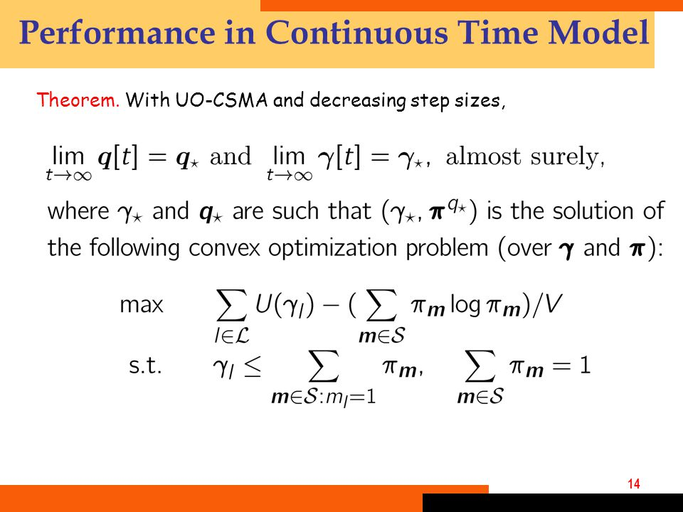 14 Performance in Continuous Time Model Theorem. With UO-CSMA and decreasing step sizes,