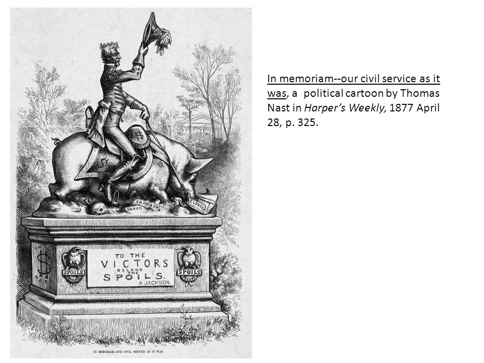 In memoriam--our civil service as it was, a political cartoon by Thomas Nast in Harper's Weekly, 1877 April 28, p. 325.