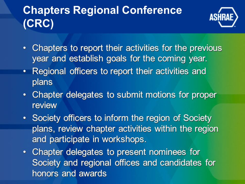 Chapters Regional Conference (CRC) Chapters to report their activities for the previous year and establish goals for the coming year.