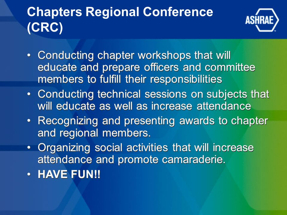 Chapters Regional Conference (CRC) Conducting chapter workshops that will educate and prepare officers and committee members to fulfill their responsibilities Conducting technical sessions on subjects that will educate as well as increase attendance Recognizing and presenting awards to chapter and regional members.
