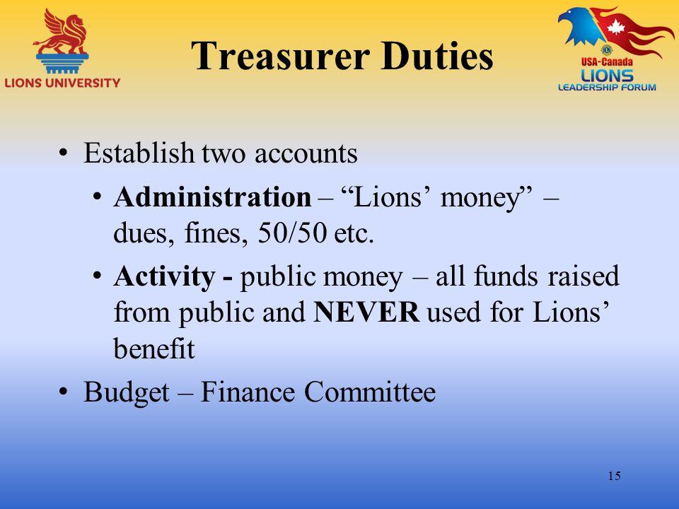 "Treasurer Duties Establish two accounts Administration – ""Lions' money"" – dues, fines, 50/50 etc. Activity - public money – all funds raised from publ"
