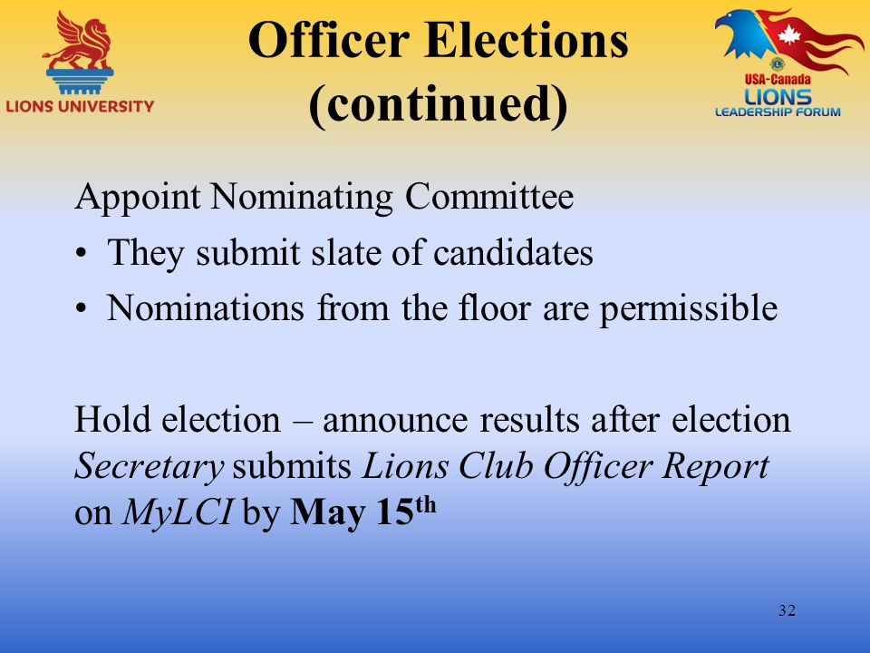 Officer Elections (continued) Appoint Nominating Committee They submit slate of candidates Nominations from the floor are permissible Hold election –