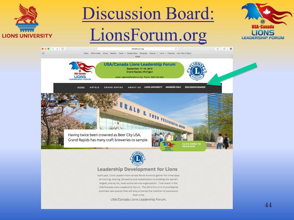 Discussion Board: LionsForum.org 44