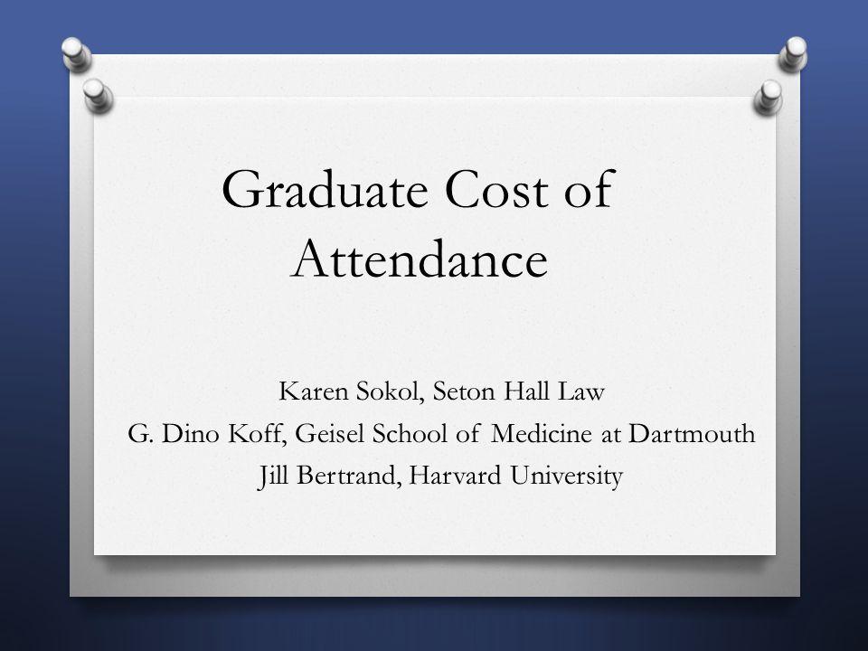 Graduate Cost of Attendance Karen Sokol, Seton Hall Law G.