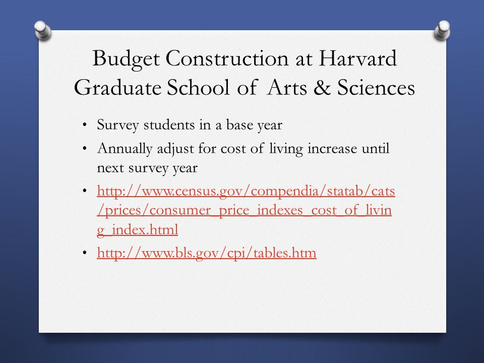 Budget Construction at Harvard Graduate School of Arts & Sciences Survey students in a base year Annually adjust for cost of living increase until next survey year http://www.census.gov/compendia/statab/cats /prices/consumer_price_indexes_cost_of_livin g_index.html http://www.census.gov/compendia/statab/cats /prices/consumer_price_indexes_cost_of_livin g_index.html http://www.bls.gov/cpi/tables.htm