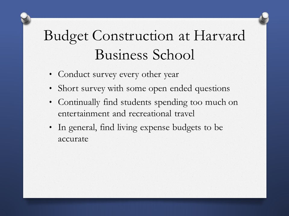 Budget Construction at Harvard Business School Conduct survey every other year Short survey with some open ended questions Continually find students spending too much on entertainment and recreational travel In general, find living expense budgets to be accurate