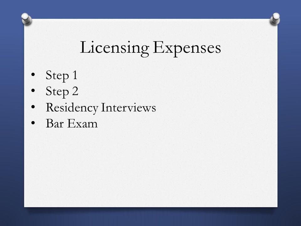 Licensing Expenses Step 1 Step 2 Residency Interviews Bar Exam