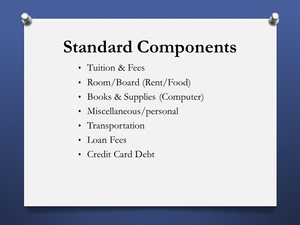 Standard Components Tuition & Fees Room/Board (Rent/Food) Books & Supplies (Computer) Miscellaneous/personal Transportation Loan Fees Credit Card Debt