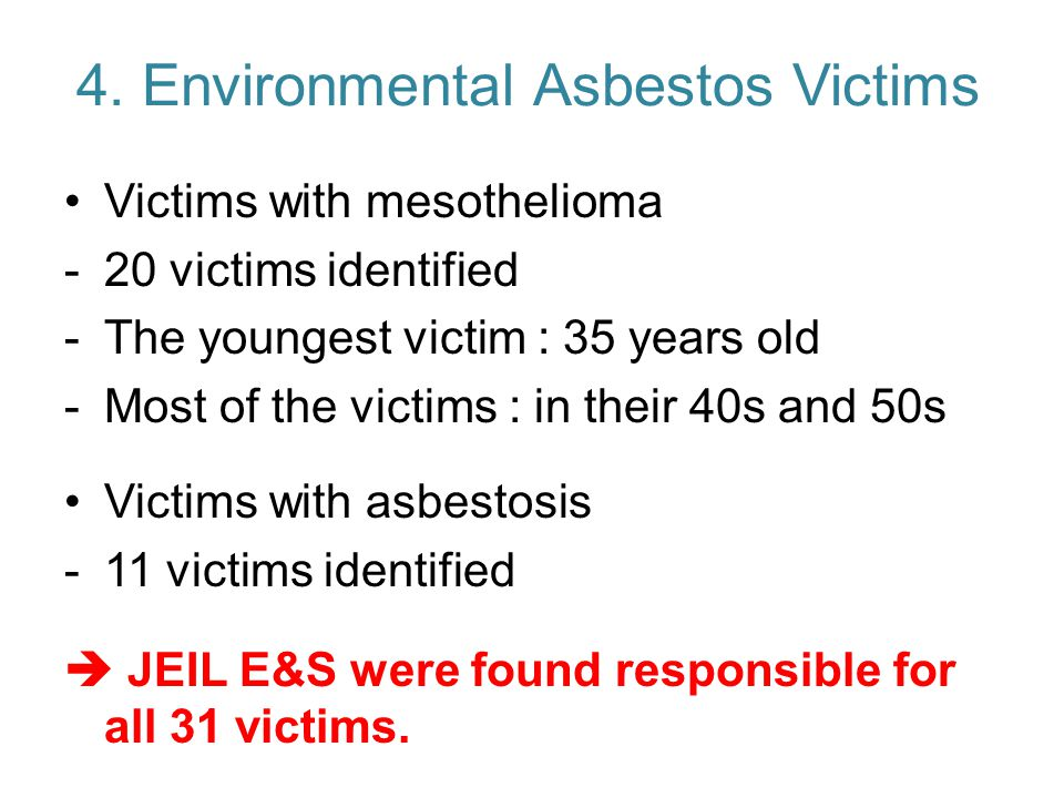 4. Environmental Asbestos Victims Victims with mesothelioma -20 victims identified -The youngest victim : 35 years old -Most of the victims : in their