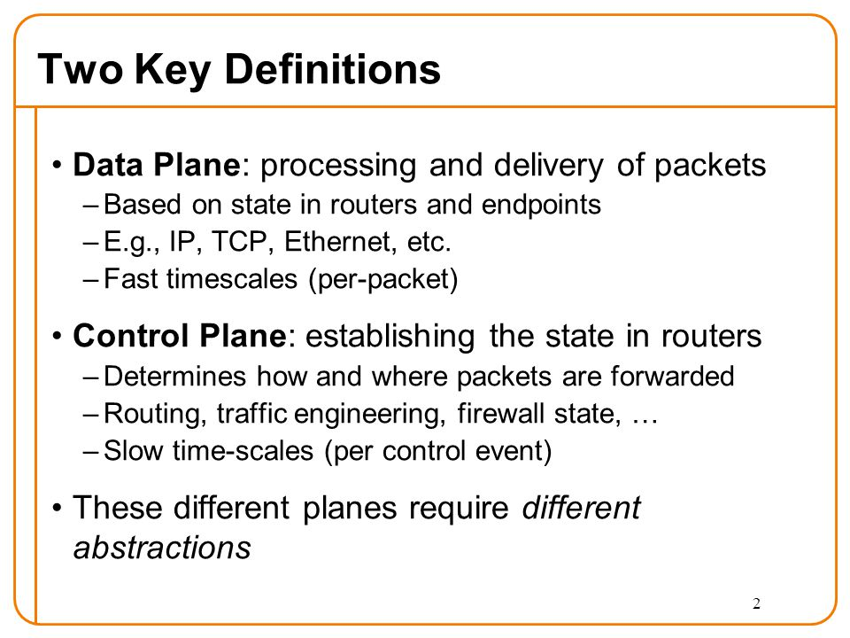 Two Key Definitions Data Plane: processing and delivery of packets –Based on state in routers and endpoints –E.g., IP, TCP, Ethernet, etc.