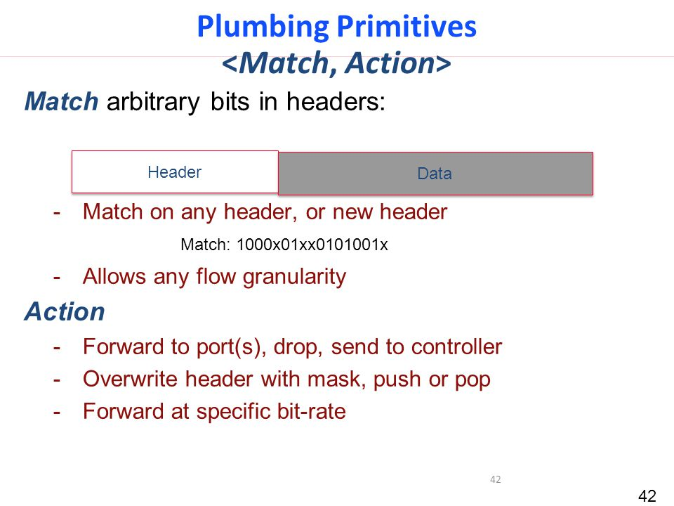42 Plumbing Primitives Match arbitrary bits in headers: -Match on any header, or new header -Allows any flow granularity Action -Forward to port(s), drop, send to controller -Overwrite header with mask, push or pop -Forward at specific bit-rate 42 Header Data Match: 1000x01xx0101001x