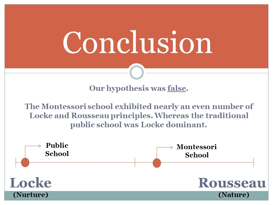 A MONTESSORI SCHOOL WILL REFLECT ROUSSEAU'S PHILOSOPHY OF LEARNING AND EDUCATION. AND A TRADITIONAL PUBLIC SCHOOL WILL REFLECT A COMBINATION OF LOCKE
