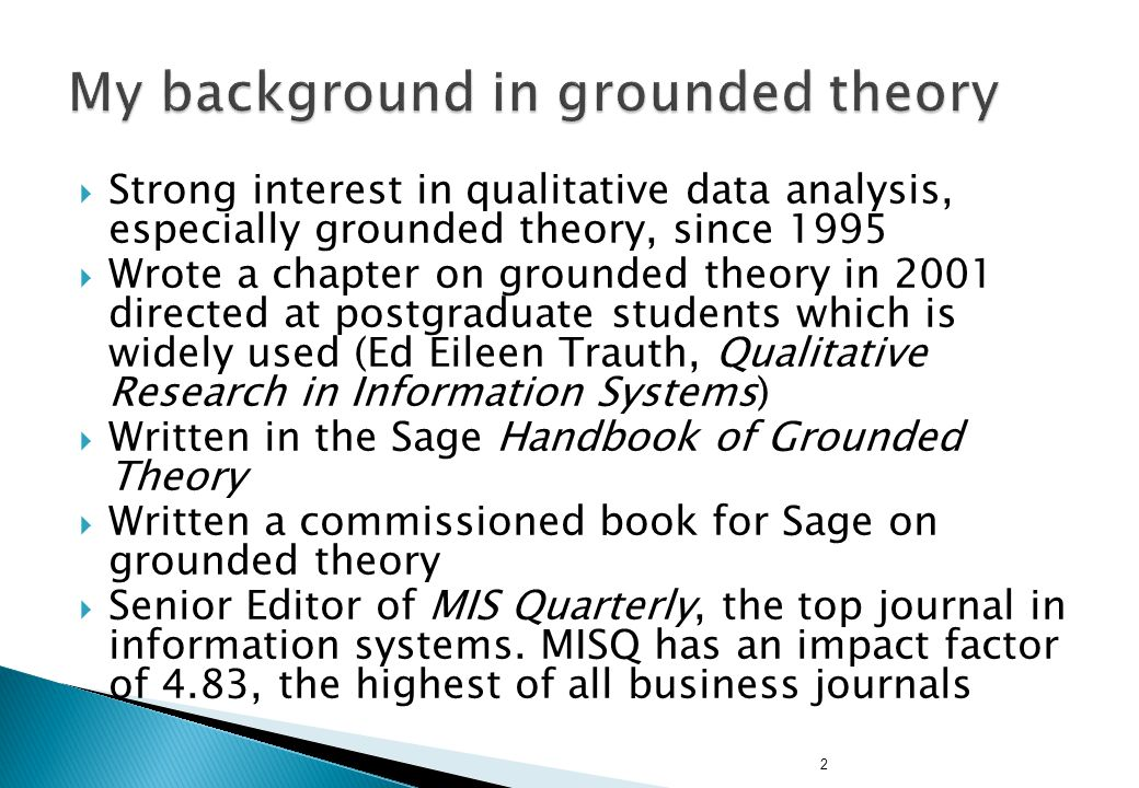 2  Strong interest in qualitative data analysis, especially grounded theory, since 1995  Wrote a chapter on grounded theory in 2001 directed at post