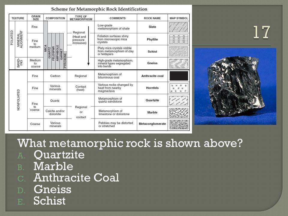 What metamorphic rock is shown above? A. Quartzite B. Marble C. Anthracite Coal D. Gneiss E. Schist