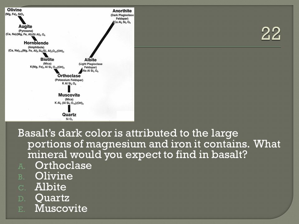 Basalt's dark color is attributed to the large portions of magnesium and iron it contains.