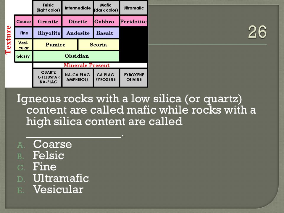 Igneous rocks with a low silica (or quartz) content are called mafic while rocks with a high silica content are called ________________.