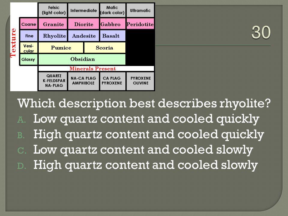Which description best describes rhyolite.A. Low quartz content and cooled quickly B.