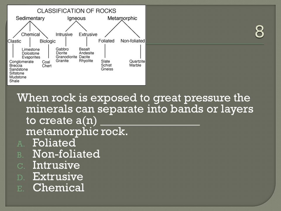 When rock is exposed to great pressure the minerals can separate into bands or layers to create a(n) _________________ metamorphic rock.