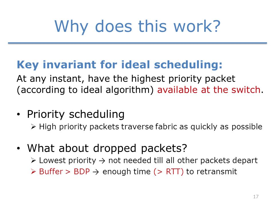 Why does this work? Key invariant for ideal scheduling: At any instant, have the highest priority packet (according to ideal algorithm) available at t