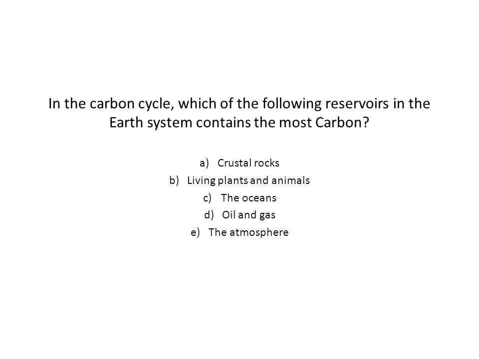 In the carbon cycle, which of the following reservoirs in the Earth system contains the most Carbon.