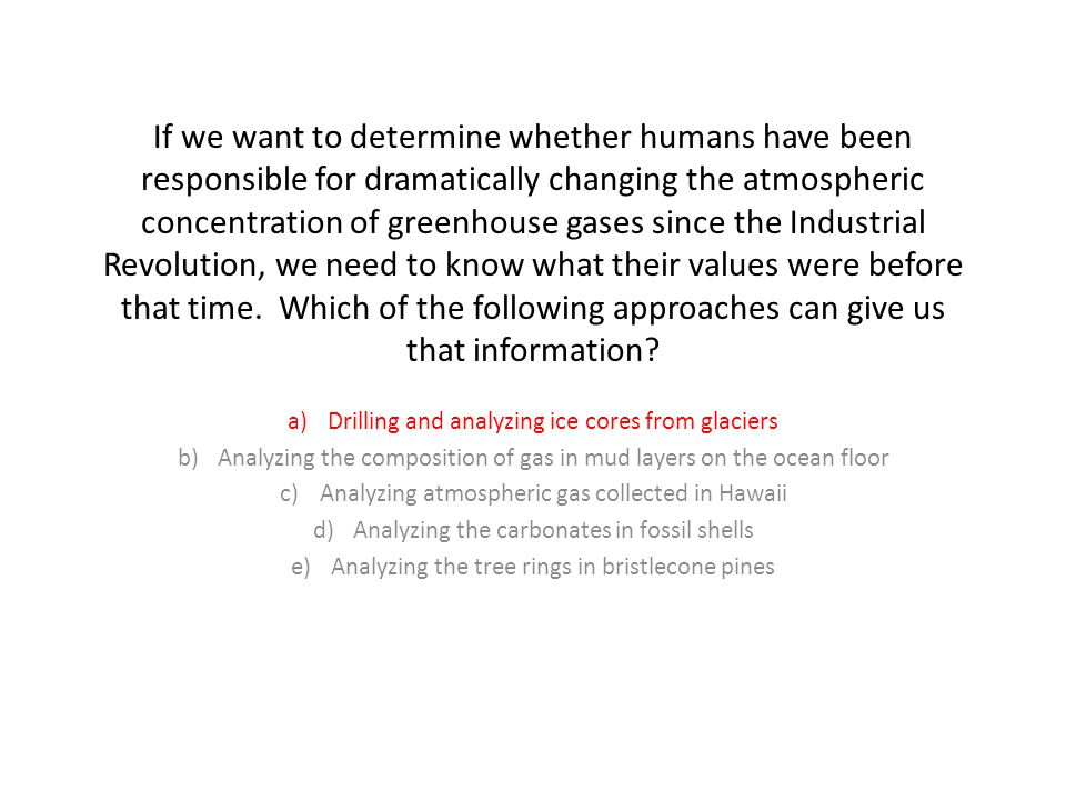 If we want to determine whether humans have been responsible for dramatically changing the atmospheric concentration of greenhouse gases since the Industrial Revolution, we need to know what their values were before that time.