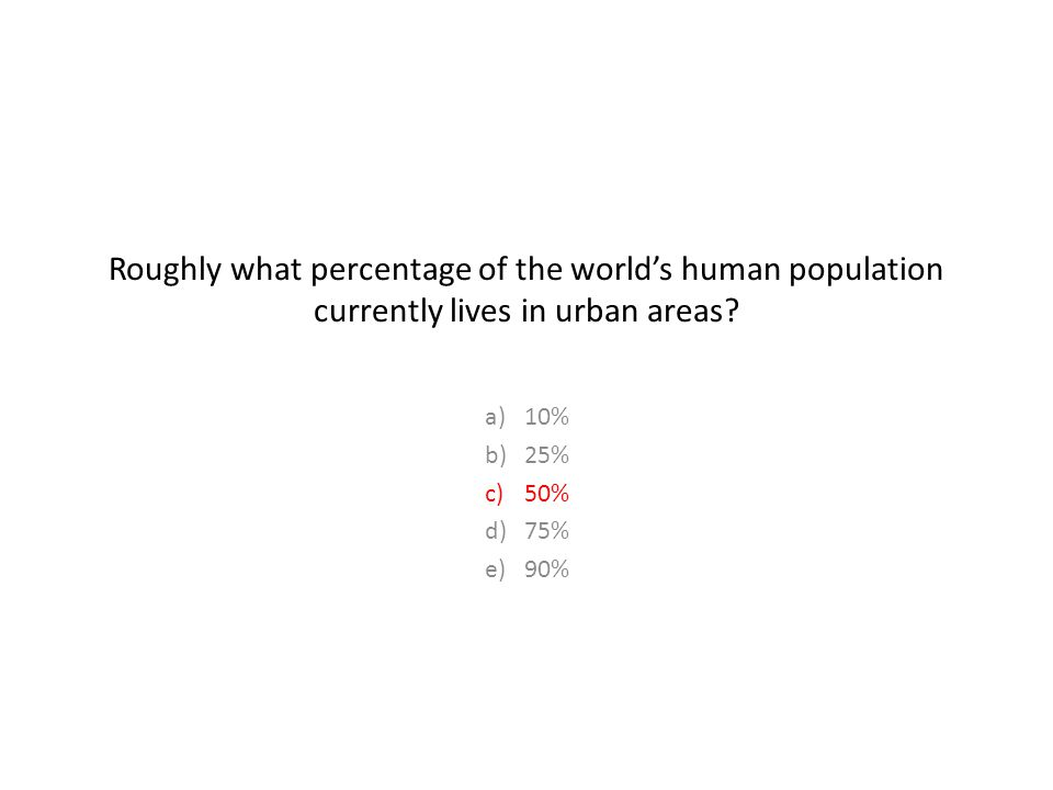 Roughly what percentage of the world's human population currently lives in urban areas.