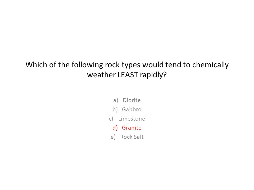 Which of the following rock types would tend to chemically weather LEAST rapidly.