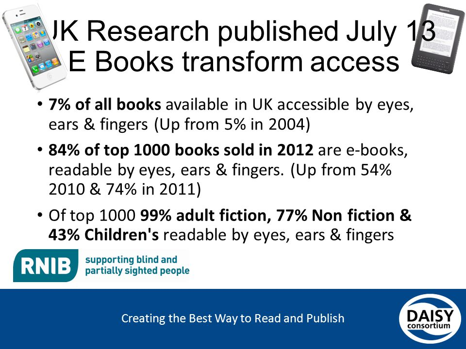 Creating the Best Way to Read and Publish UK Research published July 13 E Books transform access 7% of all books available in UK accessible by eyes, e