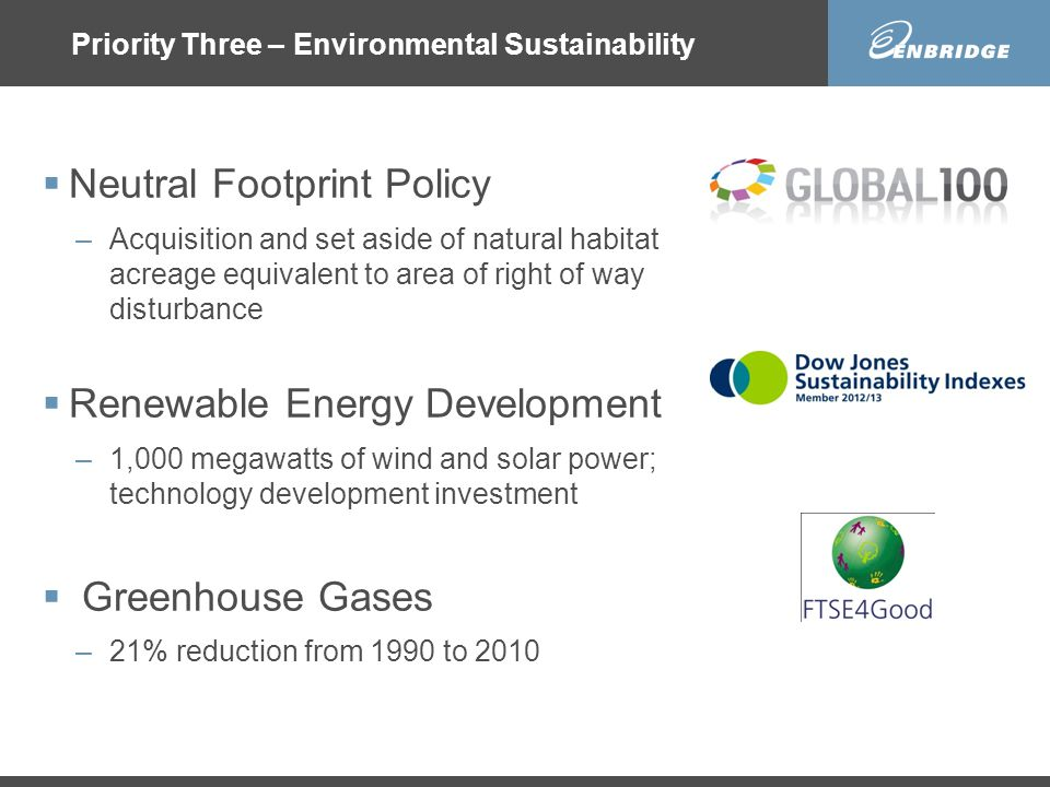 Priority Three – Environmental Sustainability  Neutral Footprint Policy –Acquisition and set aside of natural habitat acreage equivalent to area of right of way disturbance  Renewable Energy Development –1,000 megawatts of wind and solar power; technology development investment  Greenhouse Gases –21% reduction from 1990 to 2010