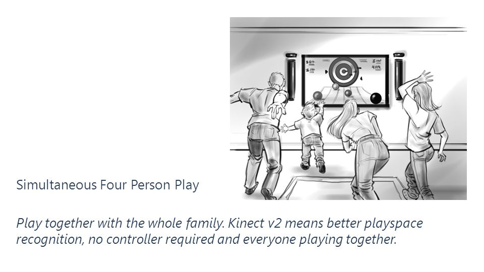 Simultaneous Four Person Play Play together with the whole family. Kinect v2 means better playspace recognition, no controller required and everyone p